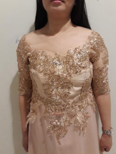 Jual Sewa Gaun Pesta Mama Pengantin Warna Gold Dki Jakarta
