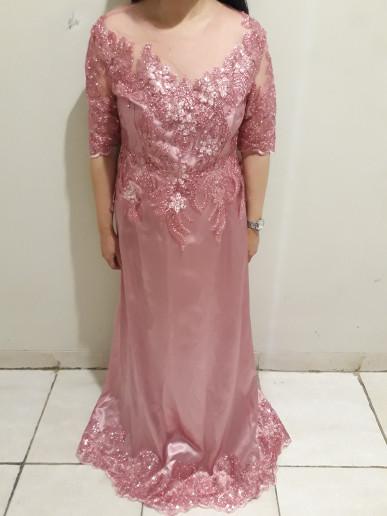 Jual Sewa Gaun Pesta Mama Pengantin Rose Gold Dusty Pink Kota