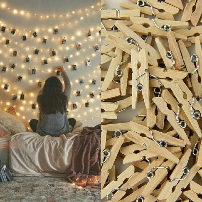 Foto Produk Penjepit Foto Kayu Wooden Clip Klip Korea Art Warna Warni Color capit dari Bear House Grosir