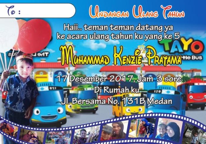 Jual Undangan Ulang Tahun Birthday Invitation Tema Tayo Kota Batam Kenzie Shop Medan Tokopedia