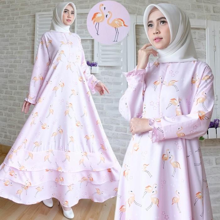 Jual Maxi Flamingo 2 Baju Gamis Dress Muslim Terbaru Jumbo Motif