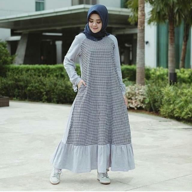 Reglan dress / gamis muslim wanita / maxi dress / dress kotak