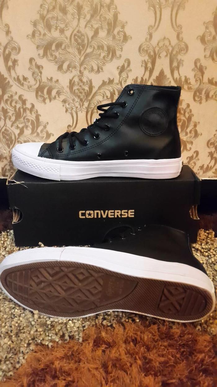 Jual Sepatu Converse Kulit Leather Cek Harga Di Hitam Black All Star Sneakers Unisex High Tokopediacom