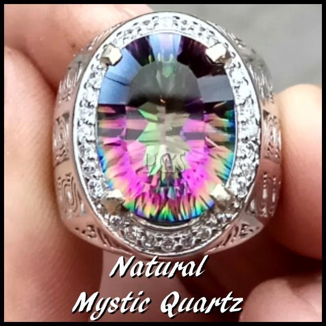 harga Cincin batu akik permata natural mystic rainbow quartz ring alpaka s Tokopedia.com