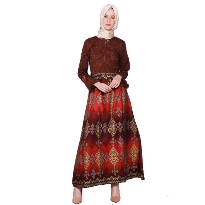 Jual Gamis Longdress Gaun Dress Panjang Motif Batik Kombinasi Embos