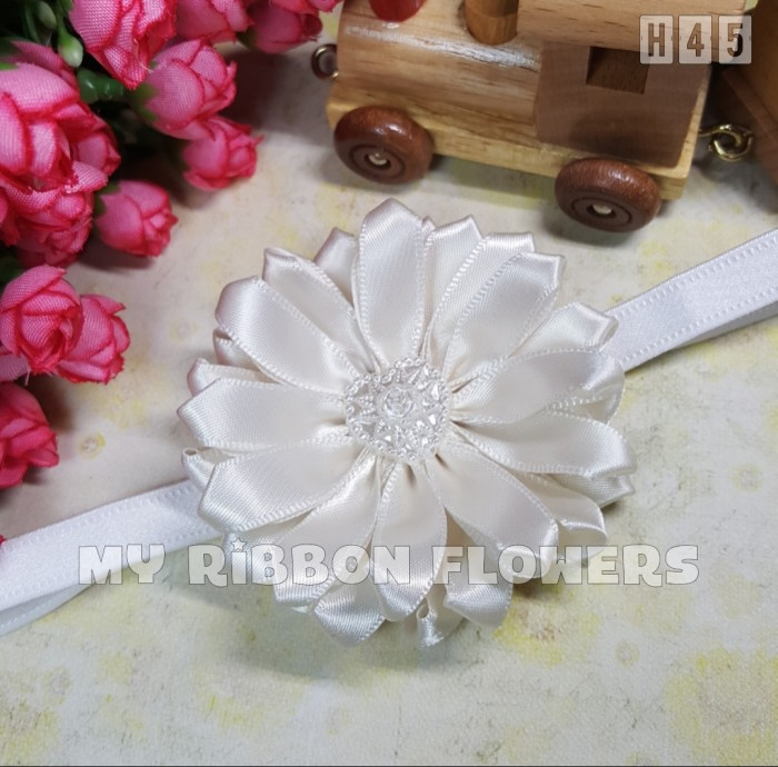 Bandana Bayi Bando Anak Baby Headband Flowers Princess Bunga Putih H45