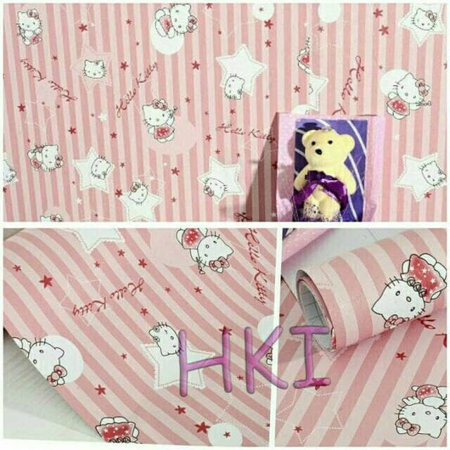 Jual Wallpaper Dinding Kamar Anak Termurah Garis Hello Kitty Pink Lucu Dki Jakarta Ermy Online Shop Tokopedia