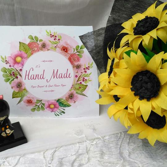 Jual Buket Bunga Matahari 12 Tangkai Kertas Krep Crepe Creppe Jakarta Selatan Its Handmade Tokopedia