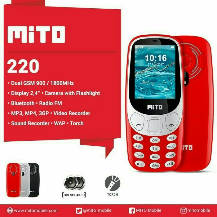 harga Mito 220 lcd 2.4inch Tokopedia.com