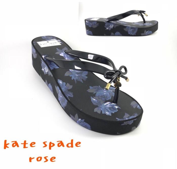 harga Sandal wedges katespade kate spade flower black new sendal flip Tokopedia.com