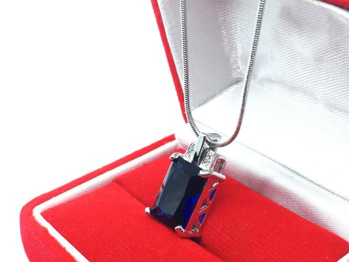 harga Kalung lapis emas putih pendant batu biru kotak persegi mewah - bn083n Tokopedia.com