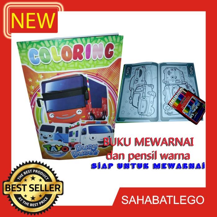 Jual Buku Mewarnai Gambar Tayo The Little Bus Coloring Dan 12 Pensil