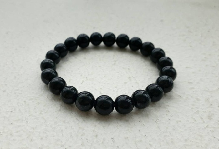 "A-KHA Paket Kalung dan Gelang Black Jade 8mm hitam ""100% Batu Alam"""