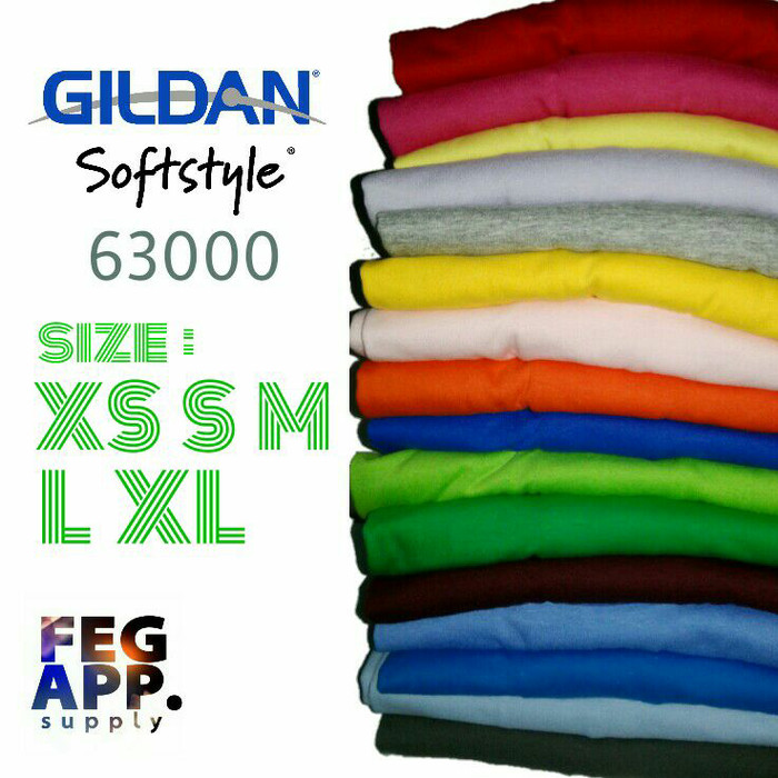 Kaos Polos Gildan Softstyle 63000 Original - Maroon, L