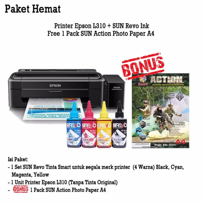 Printer Epson L310 + Infus Sun Revo Ink 100 Ml harga ...