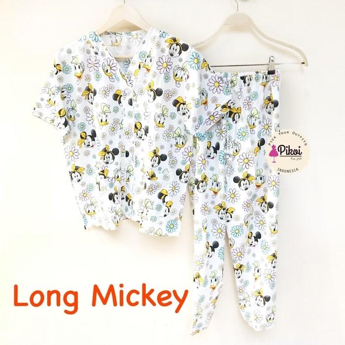 Piyama katun murah / Baju tidur mickey mouse / miki / lengan panjang