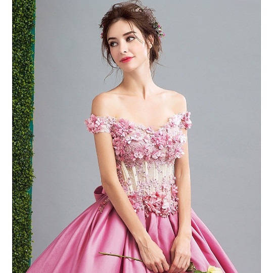 Jual Sewa Gaun Pengantin Warna Pink Murah Elegan Satin Gpw001 Dki