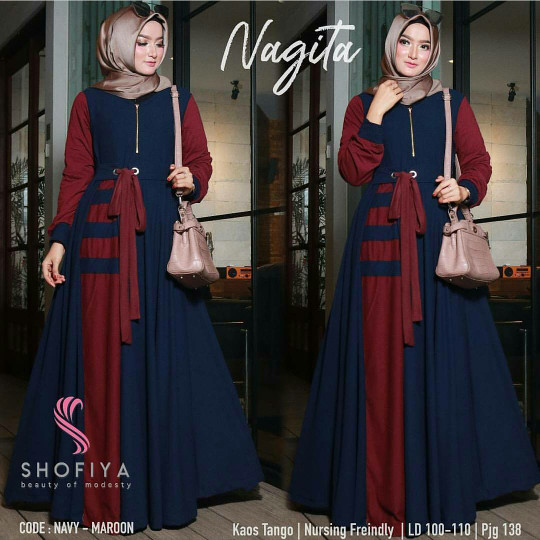 Jual Baju Muslim Wanita Nagita Dress Gamis Wanita Terbaru Fashion Cewek Navy L Kota Bandung Evellina Hijab Store Tokopedia