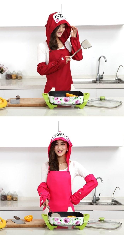 Celemek Topi Penutup Kepala A Baju Dapur Karakter Boneka Panda