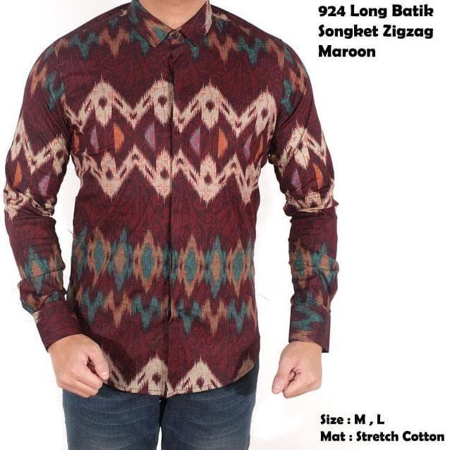 Jual Kemeja Batik Lengan Panjang   Baju Batik Songket Modern Pria ... 01f5a3ae69