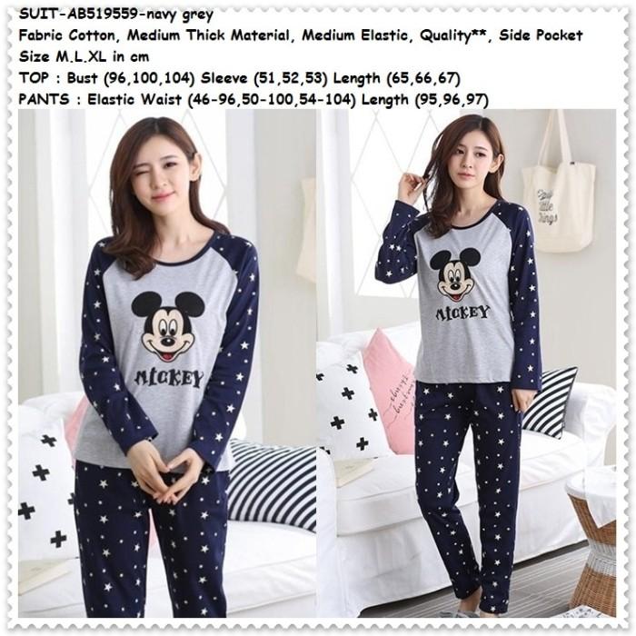 Baju Tidur Lengan Panjang Piyama Wanita Miki Mickey Mouse Korea Import