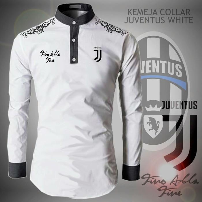 Hem Kemeja Koko Collar Bola Juventus - Baju Muslim Pria Cowo Laki