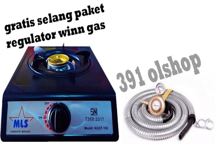 Obral paket murah kompor gas MLS 1 tungku dan selang regulator win gas