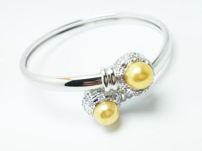 Gelang Wanita Lapis Emas 18K Silver - Mata Mutiara - M5