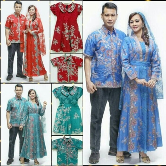 harga Baju batik couple sarimbit kd melati brukat seragam pesta plus 2 anak Tokopedia.com