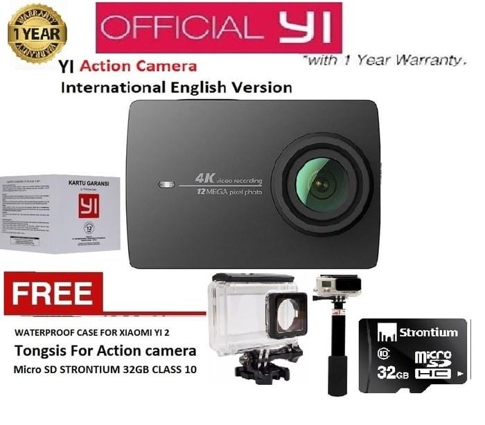 Xiaomi yi 2nd gen action camera 4k hitam-paket lengkap ...