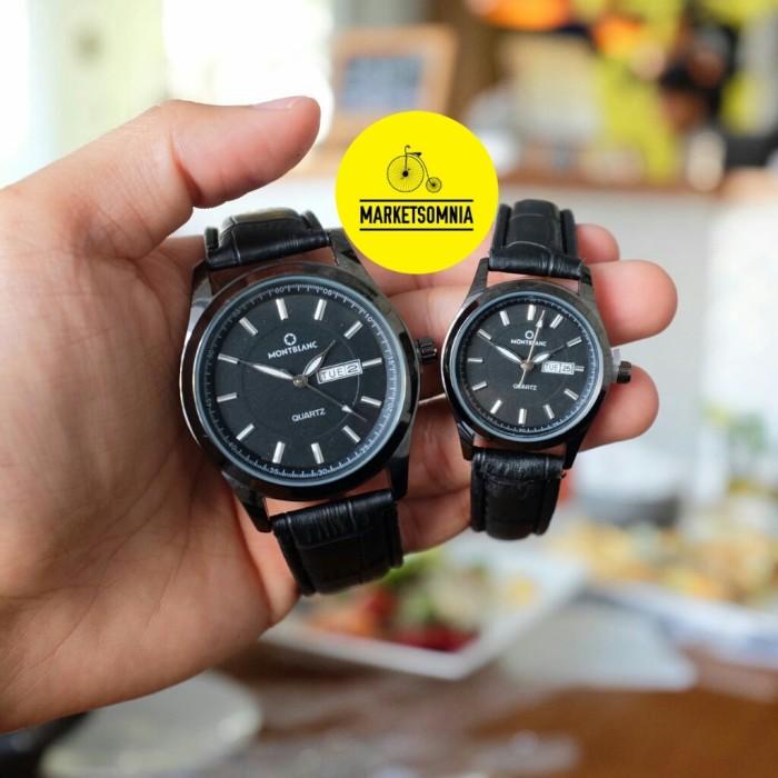 Jam Tangan Couple Montblanc Leather / Kulit Full Hitam