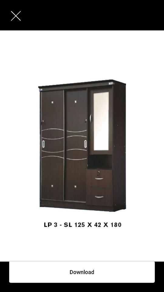 harga Lemari pakaian 3 pintu new sliding + kaca cermin Tokopedia.com