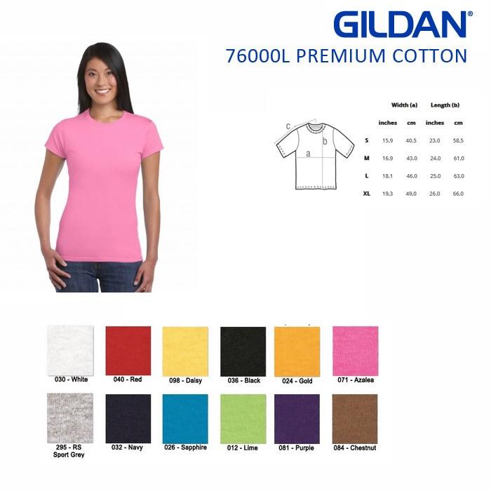 harga Kaos gildan premium ladies original 76000l perempuan cewe wanita Tokopedia.com