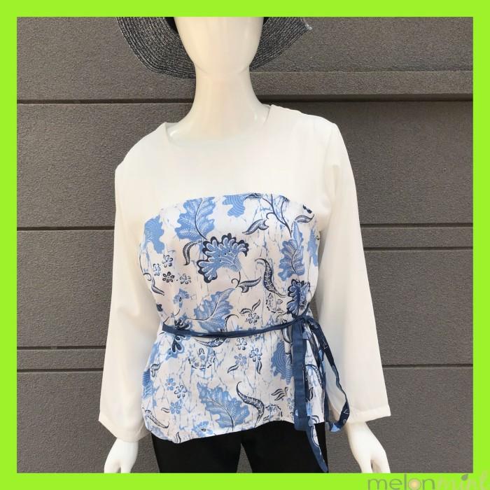 harga Melonmint blouse / atasan batik bunga biru kombinasi kain woolpeach Tokopedia.com