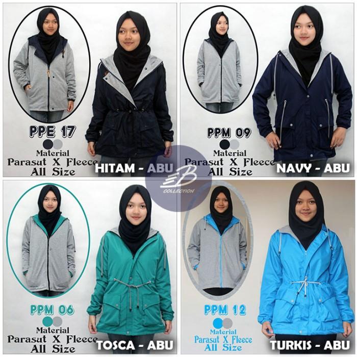 Jaket Parka Bolak Balik Cewek Wanita Bahan Parasut Despo / Fleece .