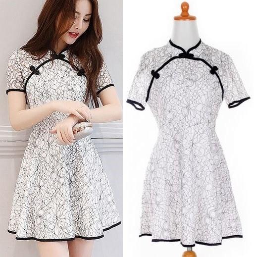Jual Impor White Lace Oriental Flare Dress Pesta Putih Brukat