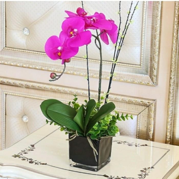 Jual Rangkaian Bunga Anggrek Latex Import-Vas Kaca-Anggrek Ungu ... 61a237fa24