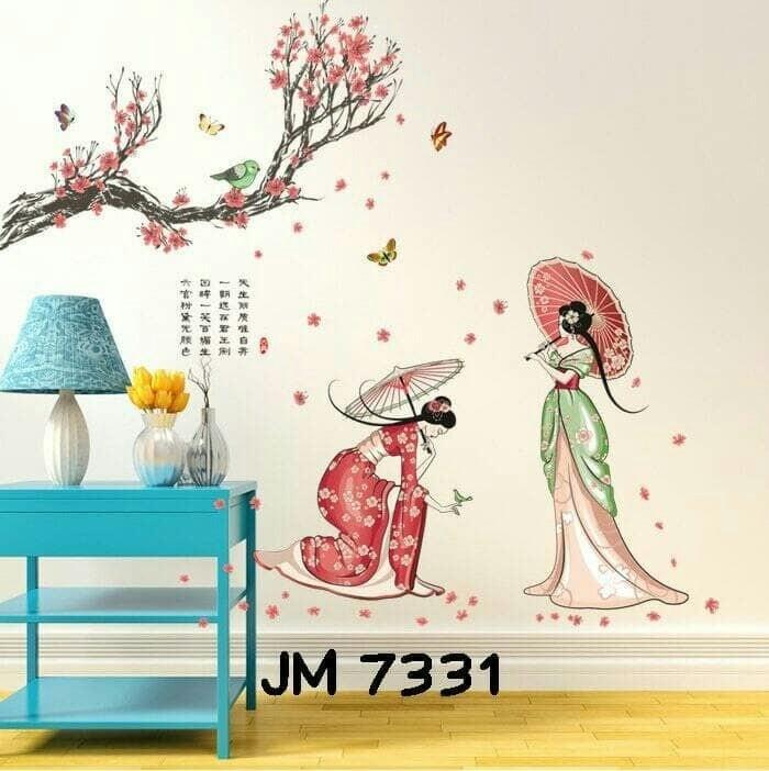 jual wall stiker dinding 60x90 2 gadis jepang - kota malang