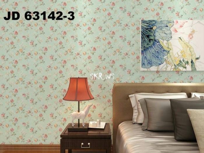 Jual Wallpaper Dinding Stiker Motif Bunga Kecil Tosca Kota Malang Intan Aznii Tokopedia