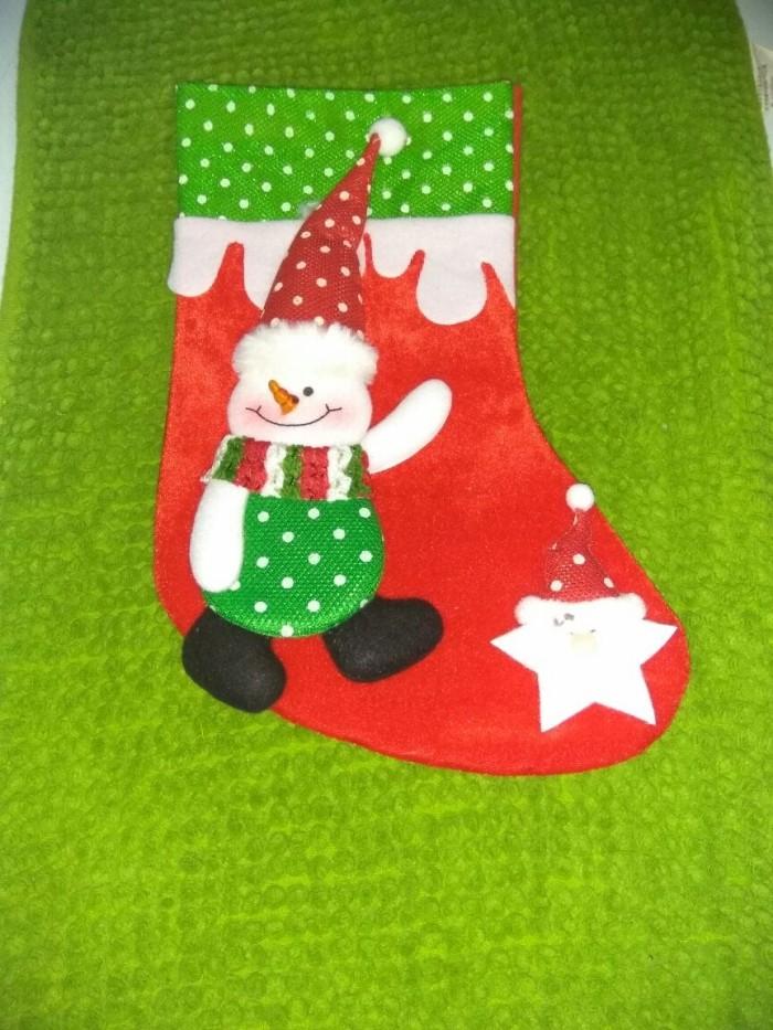 Hiasan pohon natal kaos kaki santa / big christmas sock for gift