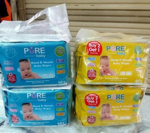 PURE BABY HAND AND MOUTH BABY WIPES (buy 2 get 1) 60's per pack