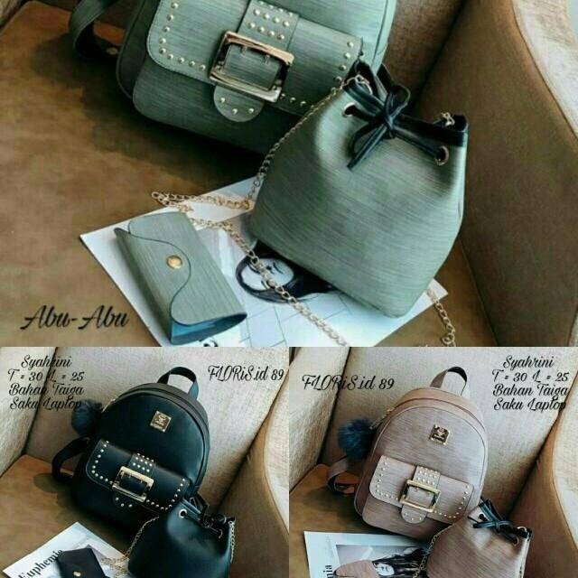 paket tas ransel/selempang 3in1 wanita hitam/pink/abu murah trend baru