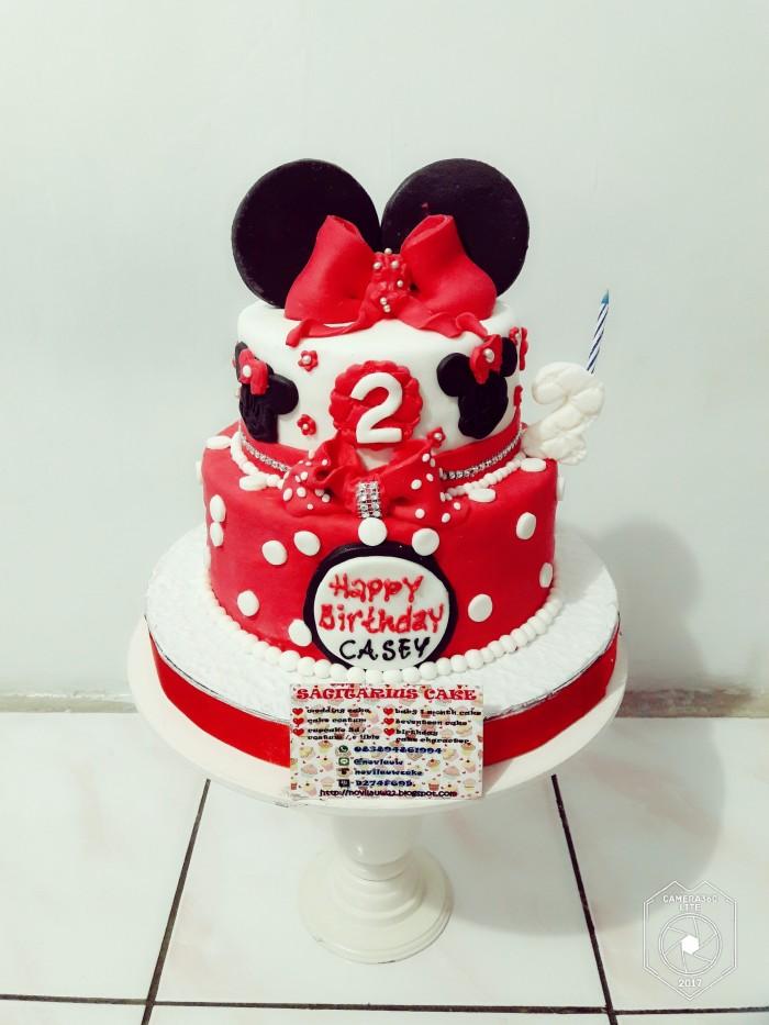 Jual Kue Ulang Tahun 2 Tingkat Minnie Mouse Fondant Jakarta Timur Novlauwcake Tokopedia