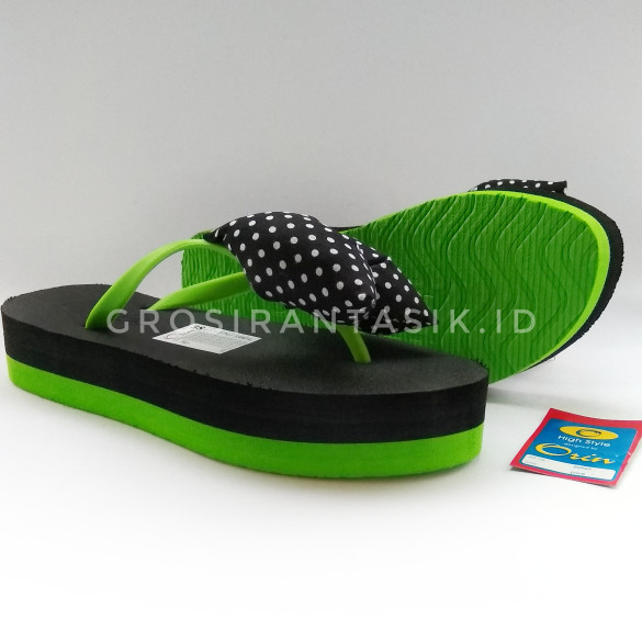 ... Sandal ORIN Wedges Flat Oshin Pita Mix Hitam x Hijau Stabilo