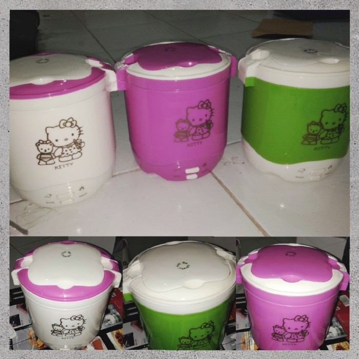 harga Mini rice cooker hello kitty hk slow warmer hk 2 susun kity nasi bubur Tokopedia.com