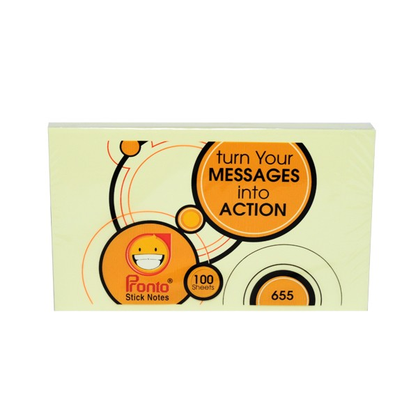 post-it sticky notes yellow 655 75 x 125 mm 100 sheets/pad