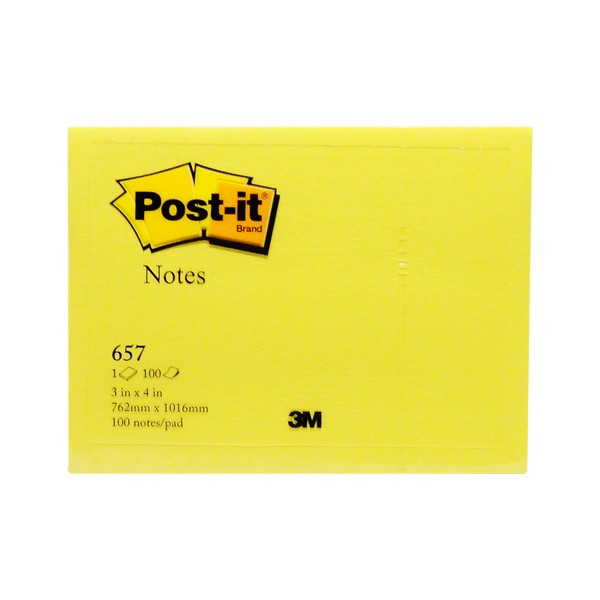 post-it sticky notes yellow 657 76 x 102 mm 100 sheets/pad 1 pad