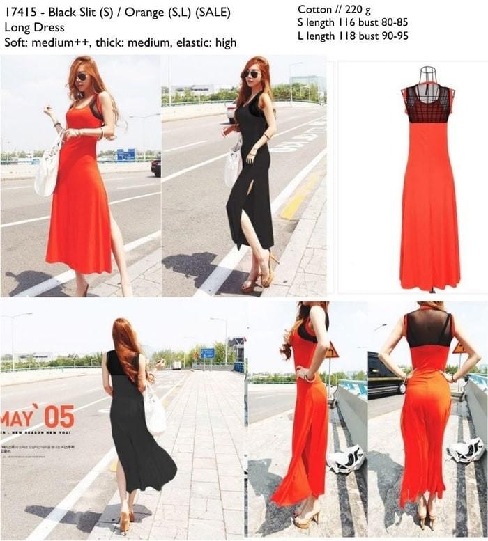 VSEVL LONG DRESS BLACK SLIT (S) IMPORT E1217