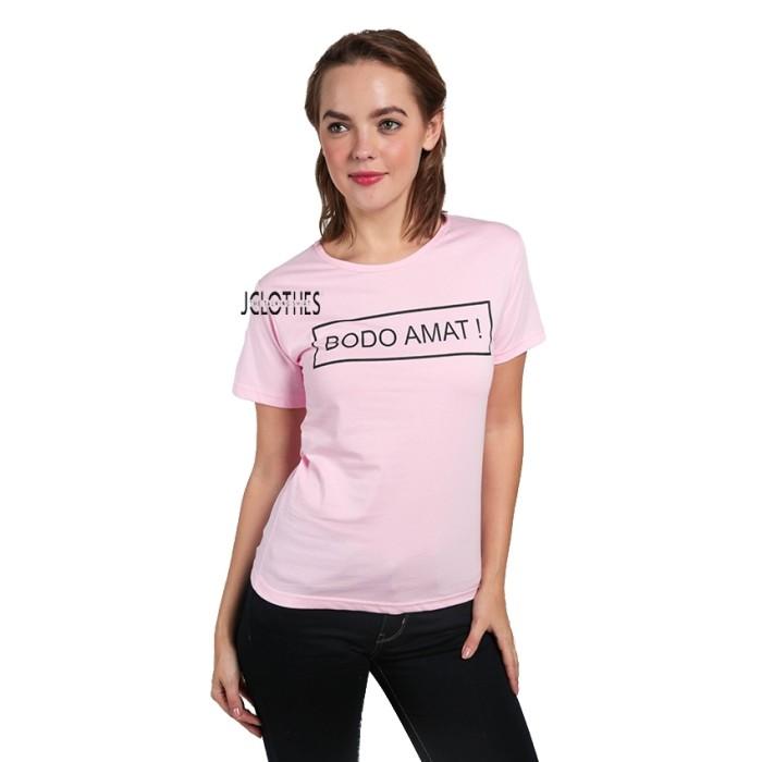 Kaos Wanita / Tumblr Tee Lengan Pendek Bodo Amat - Pink