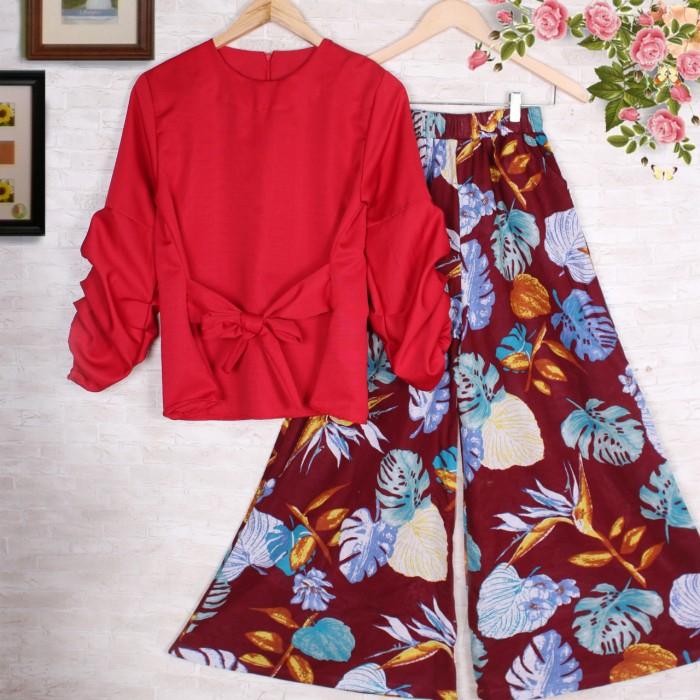 GSD Setelan Baju Wanita Motif Bunga ST FLOW KULOT RED. Source · SETELAN KULOT HILDA 2 baju celana muslim fashion wanita motif bunga